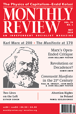 Monthly Review Cover, May 2018